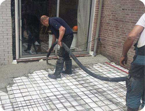 Zelf beton storten met aanhangerpomp